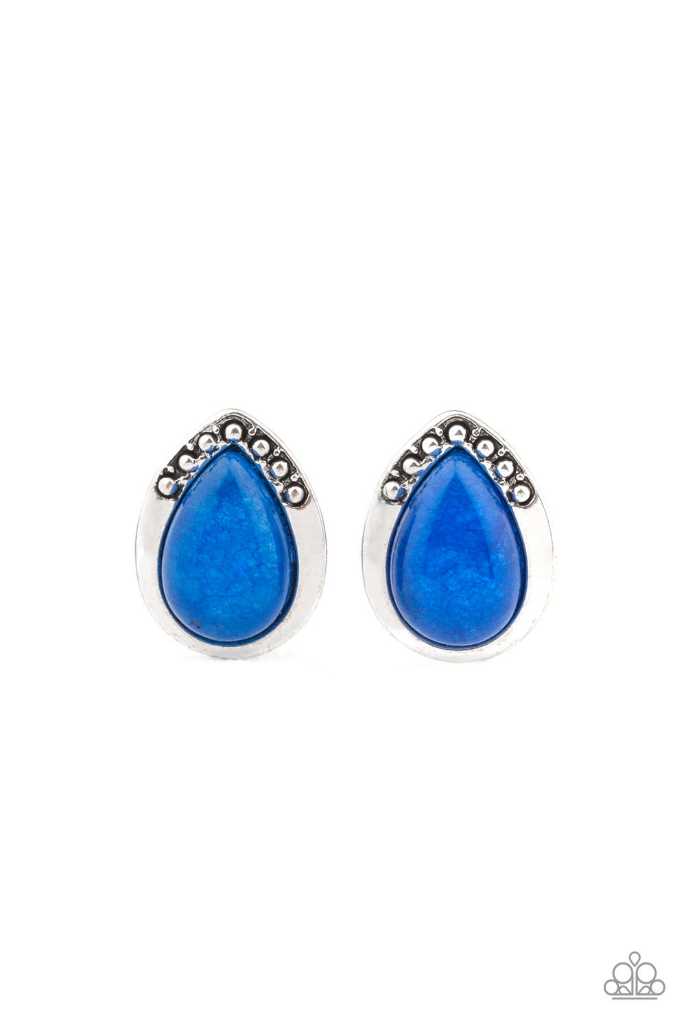 Stone Spectacular - Blue Stone Earrings -Paparazzi Accessories