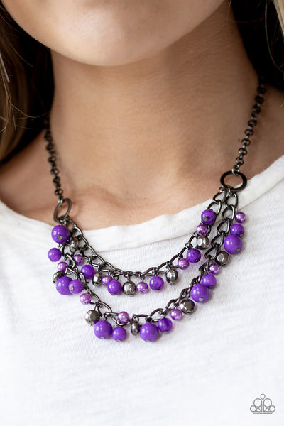Watch Me Now - Purple Pearl Bead Necklace - Paparazzi Accessories