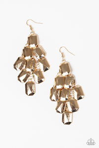Paparazzi Contemporary Catwalk Earrings-Gold
