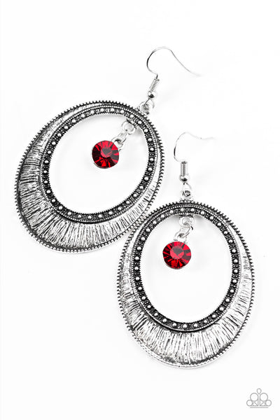 Madame Marvel - Red Earrings - Paparazzi Accessories