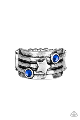 Stars and Stripes - Blue Ring - Paparazzi Accessories
