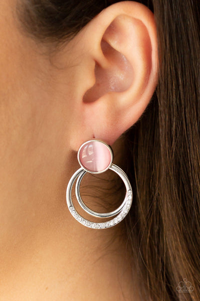 Glow Roll - Pink Earrings - Paparazzi Accessories