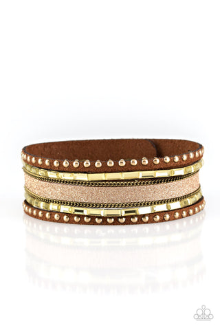 Seize The Sass - Brass Rhinestone Wrap Bracelet - Paparazzi Accessories