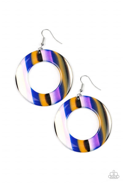 Paparazzi In Retrospect Blue Acrylics Hoop Earrings - Blue