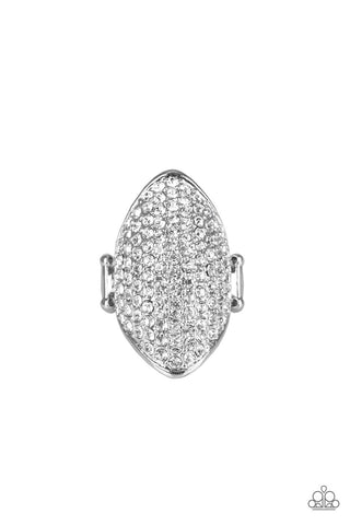 Shazam - White Rhinestone Ring - Paparazzi Accessories