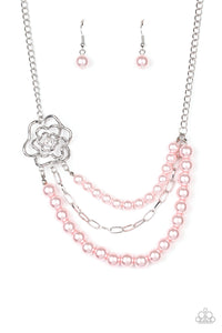 Fabulously Floral - Pink Pearl Necklace - Paparazzi Accessories