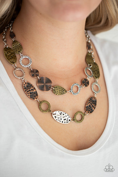 Trippin On Texture - Multi Metal Necklace - Paparazzi Accessories