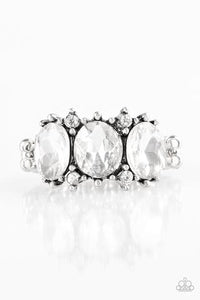 Straighten Your Crown - White Rhinestone Ring - Paparazzi Accessories