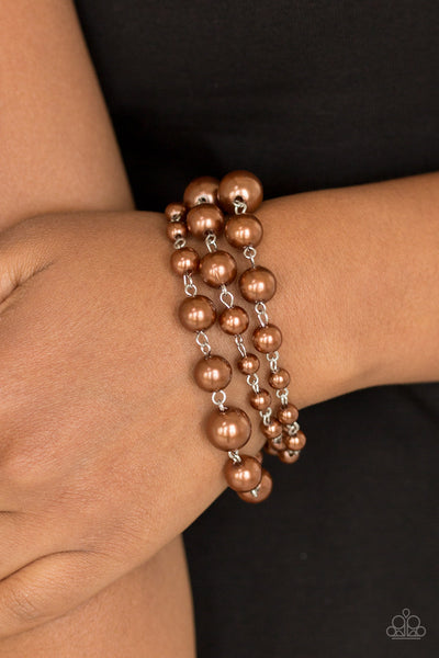 Until The End Of TIMELESS - Brown Pearl Bracelet - Paparazzi Accessories