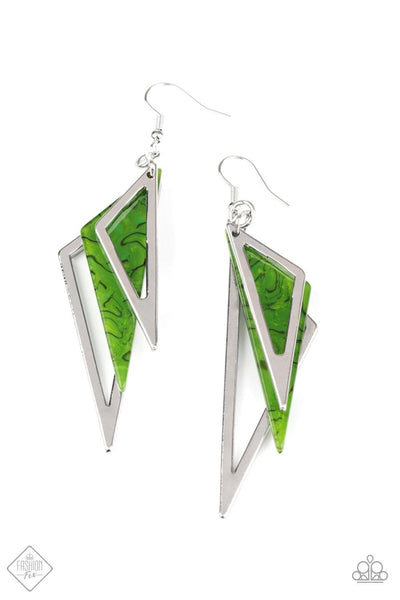 Evolutionary Edge - Green Earrings - Paparazzi Accessories