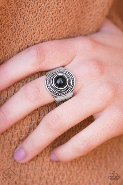 Target Trance - Silver/Black Ring - Paparazzi Accessories