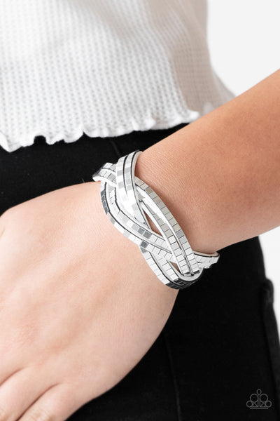 Looking For Trouble - White  Rhinestone Wrap Bracelet - Paparazzi Accessories