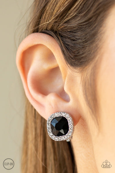 Bling Tastic!- Black Clip-On Earrings - Paparazzi Accessories