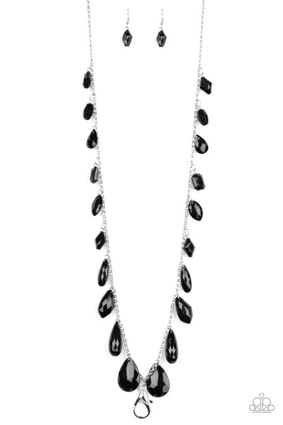 Paparazzi GLOW And Steady Wins The Race Necklace- Black Lanyard