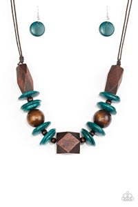 Pacific Paradise - Blue Wooden Necklace - Paparazzi Accessories