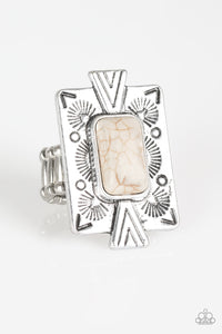 So Smithsonian - White Stone Ring - Paparazzi Accessories