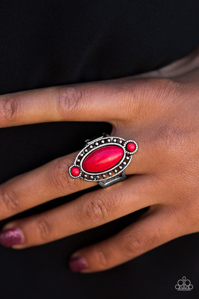 Bet Your Boots - Red Stone Ring - Paparazzi Accessories