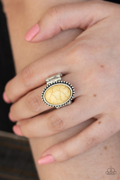 Bountiful Deserts - Yellow Stone Ring - Paparazzi Accessories