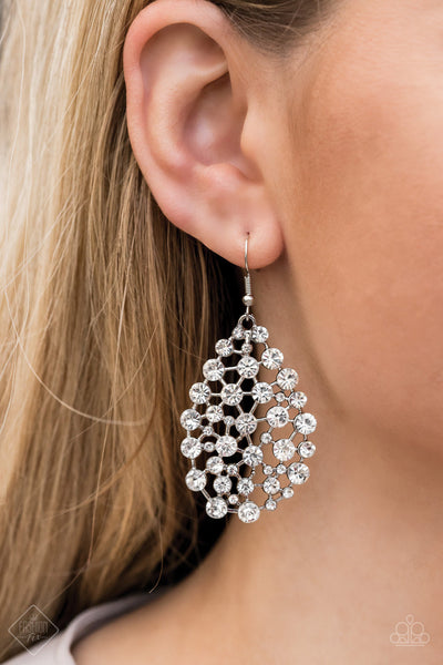 Start With A Bang - White Rhinestone  Earrings - Paparazzi Accessories
