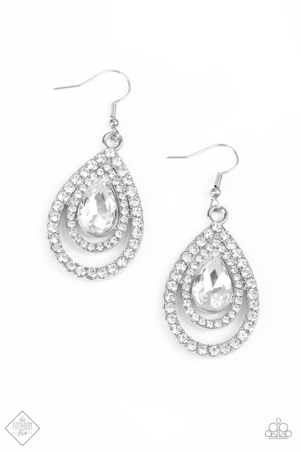So The Story GLOWS - White Rhinestone Earrings - Paparazzi Accessories