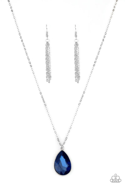 So Obvious - Blue Teardrop Necklace - Paparazzi Accessories