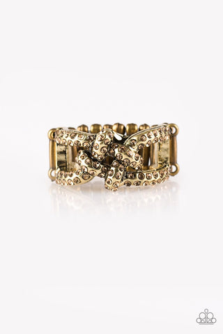 Can Only Go UPSCALE From Here - Brass - Golden Topaz Rhinestones Ring - Paparazzi Accessories