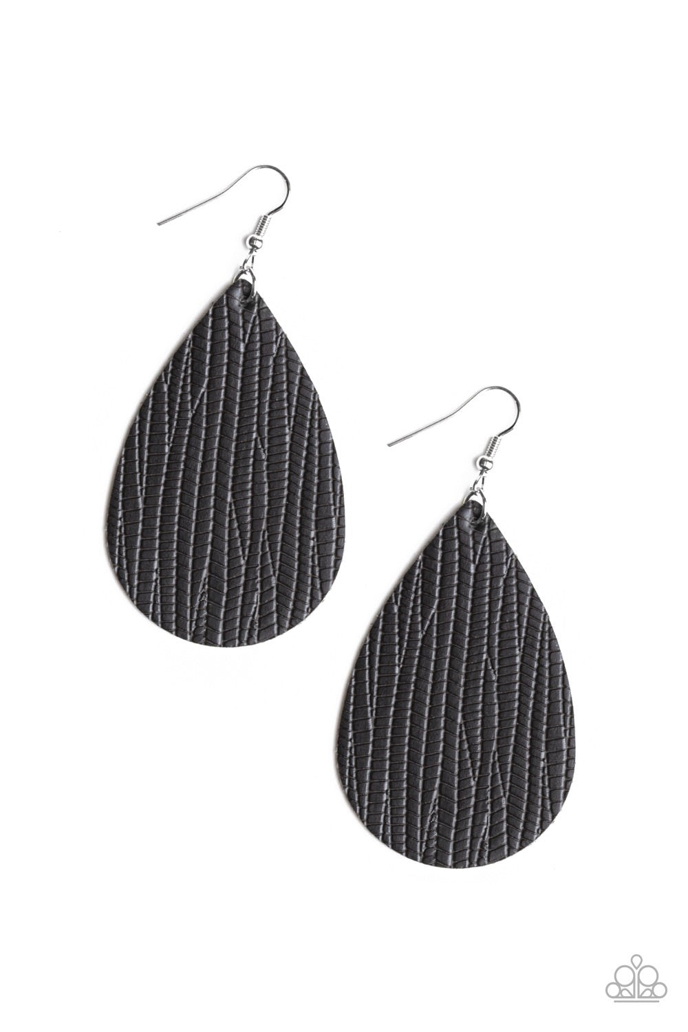 Paparazzi Natural Resource Animal Print Leather Earrings - Black