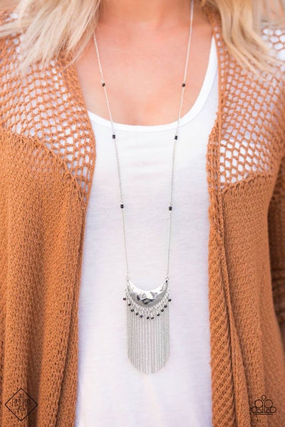 Desert Trance - Silver Fringe Necklace - Paparazzi Accessories