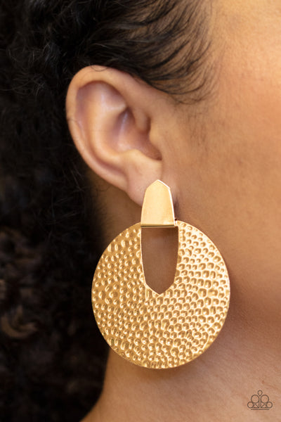 Bold Intentions - Gold Earrings - Paparazzi Accessories