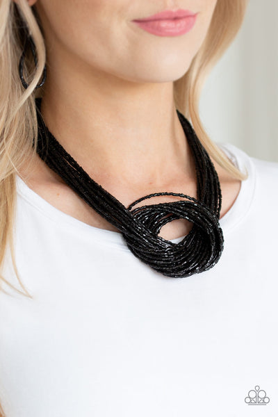 Knotted Knockout - Black Seed Bead Necklace - Paparazzi Accessories