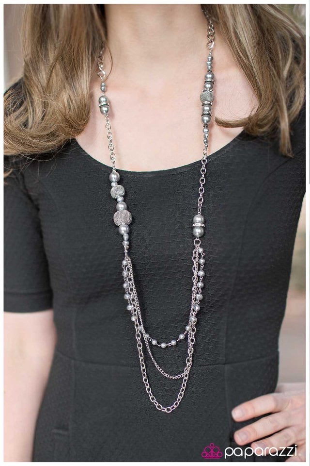 Enmeshed In Elegance - Silver Pearl Necklace - Paparazzi Accessories