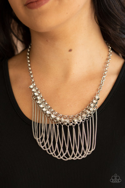 Flaunt Your Fringe - White Necklace - Paparazzi Accessories