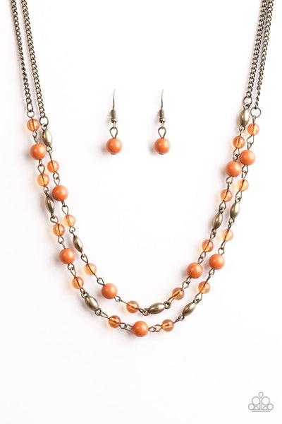 I'll Always BEAD There - Orange Bead Necklace - Paparazzi Accessories