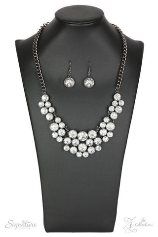 The Angela - Gunmetal White Rhinestone Necklace - Paparazzi Accessories