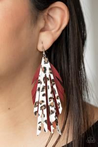 Untamable - Red Cheetah Leather Earrings - Paparazzi Accessories