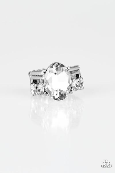 Shine Bright Like A Diamond - White Rhinestone Ring - Paparazzi Accessories