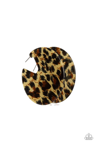 Paparazzi Haute Savannah Cheetah Hoop Earrings - Brown
