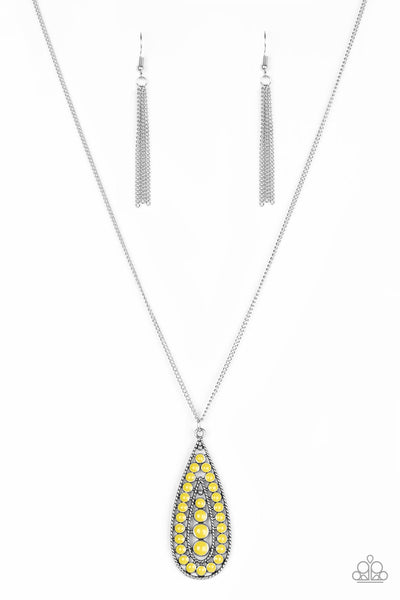 Tiki Tease - Yellow Necklace - Paparazzi Accessories