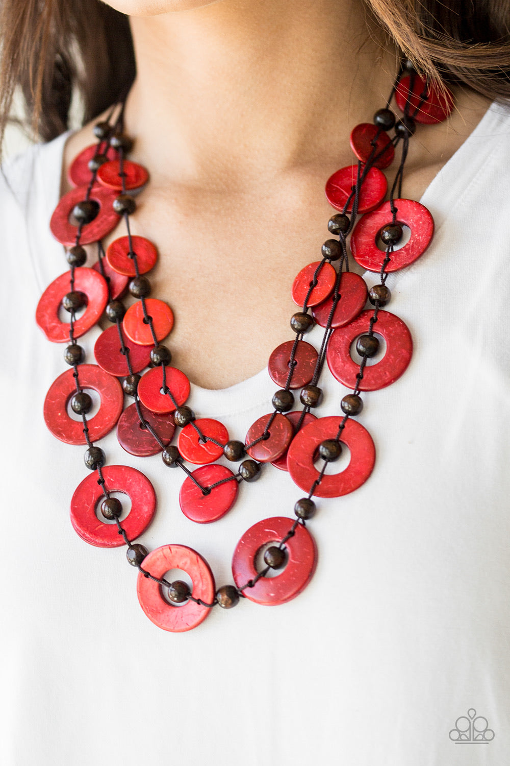 Catalina Coastin' - Red Wooden Necklace - Paparazzi Accessories