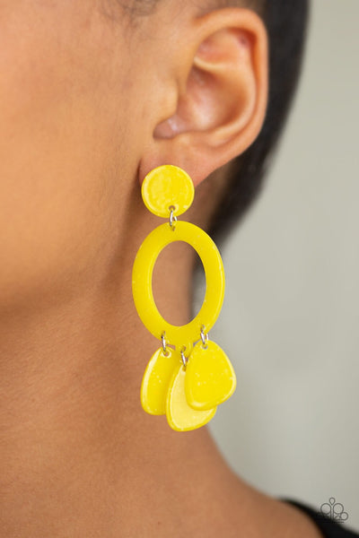 Sparkling Shores - Yellow Acrylic Earrings - Paparazzi Accessories