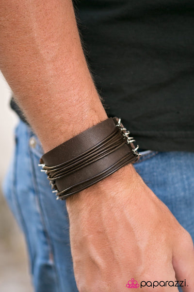 Paparazzi Every Man For Himself Leather Men's Bracelet-Brown