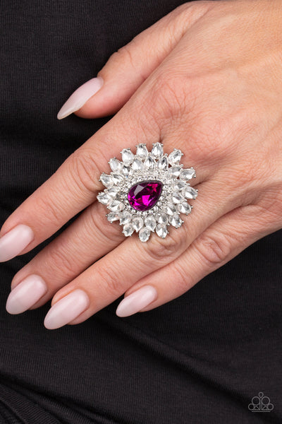 Who's Counting - Pink Rhinestone Ring - Paparazzi Accessories