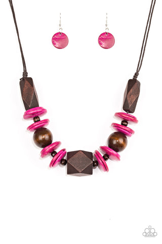 Pacific Paradise - Pink Wooden Necklace - Paparazzi Accessories