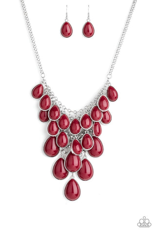 Shop Til You TEARDROP -Red Teardrop Fringe Necklace - Paparazzi Accessories