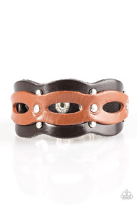 SPURS Of The Moment - Brown Leather Men's Band Bracelet - Paparazzi Accessories