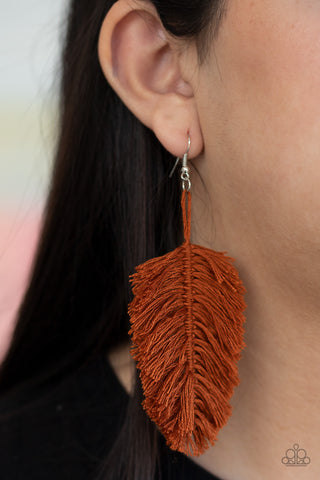 Hanging by a Thread - Brown Fringe Earrings - Paparazzi Accessories