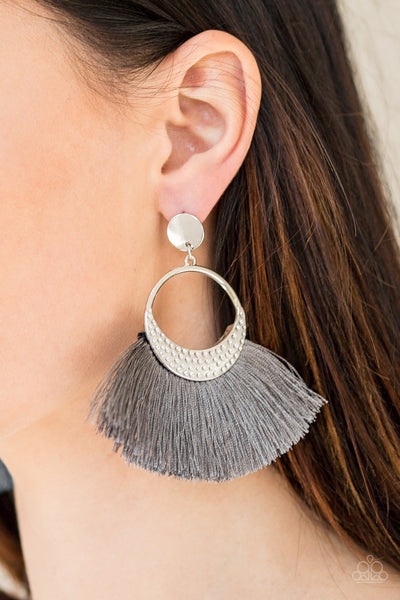 Spartan Spirit - Silver Tassel Earrings - Paparazzi Accessories
