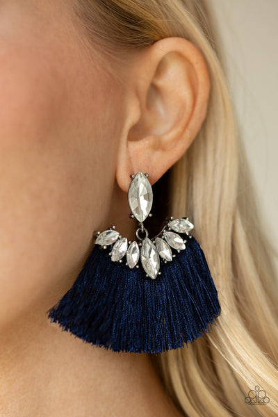Paparazzi Formal Flair Fringe Earrings - Blue
