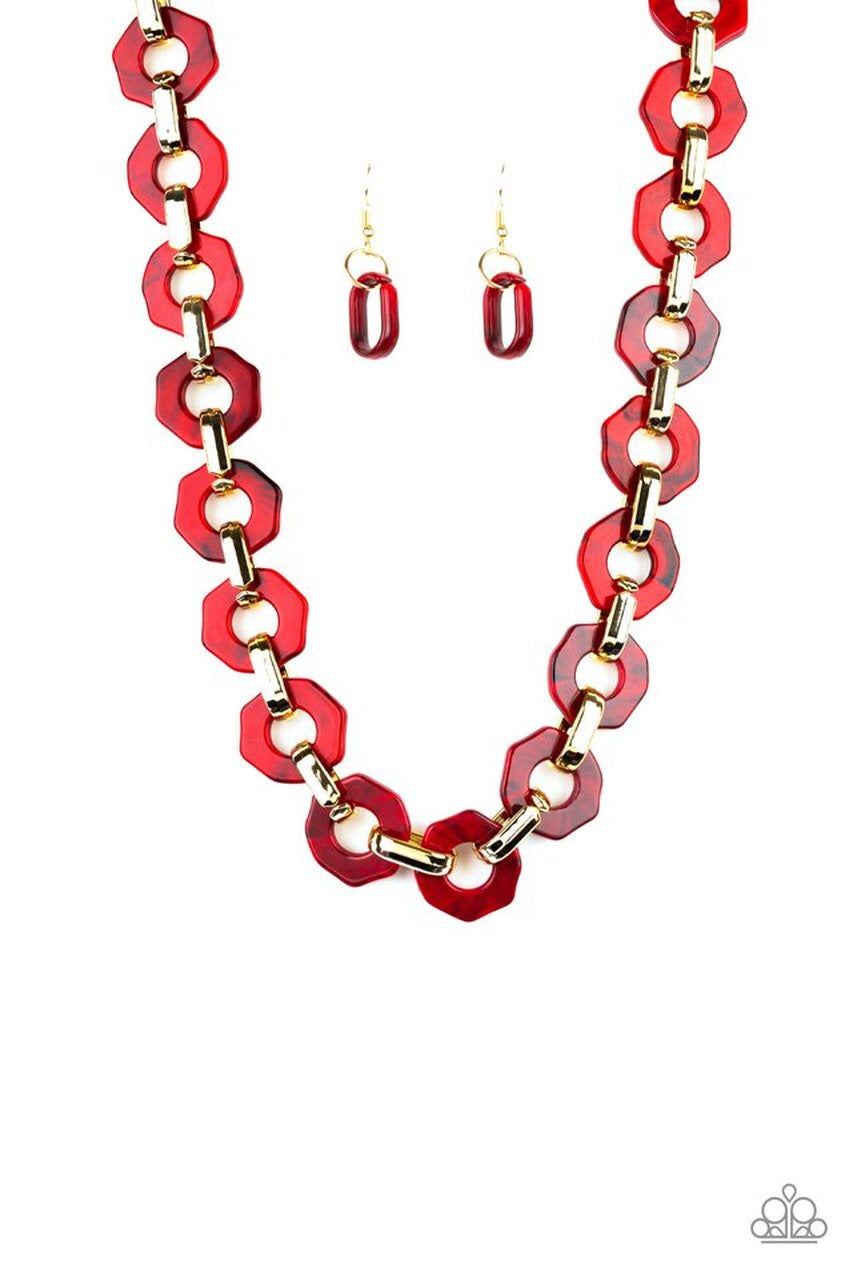 Paparazzi Fashionista Fever Necklace- Red