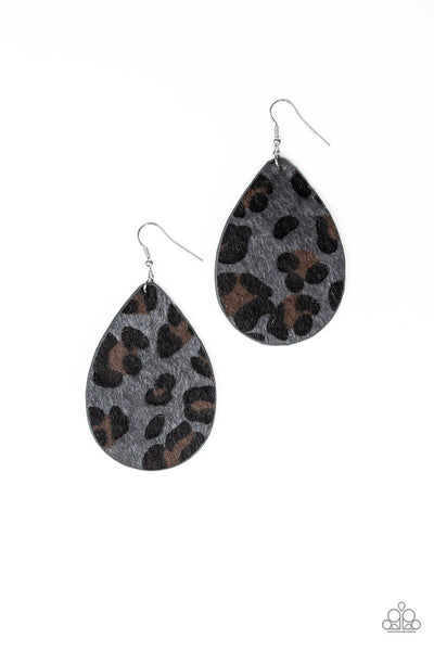 Paparazzi Ra, Ra, Roar - Silver - Fuzzy Cheetah - Leather Teardrop - Earrings - A Sophisticated Finish Boutique